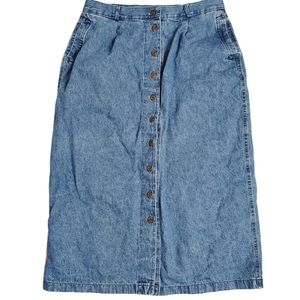 Vintage 90's button down denim maxi skirt